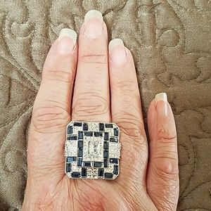 Jewelry - Silver and Sapphire Tone Cocktail Ring